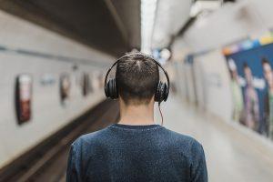 man wearing headphones l