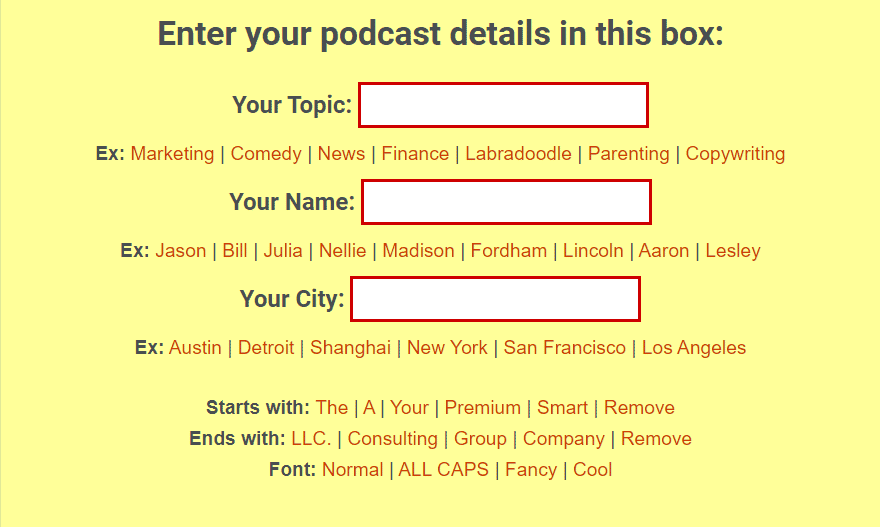instant podcast name generator