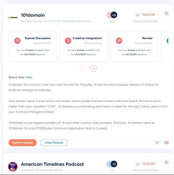 Make Money Podcasting With Podcorn Sponsor Example 1