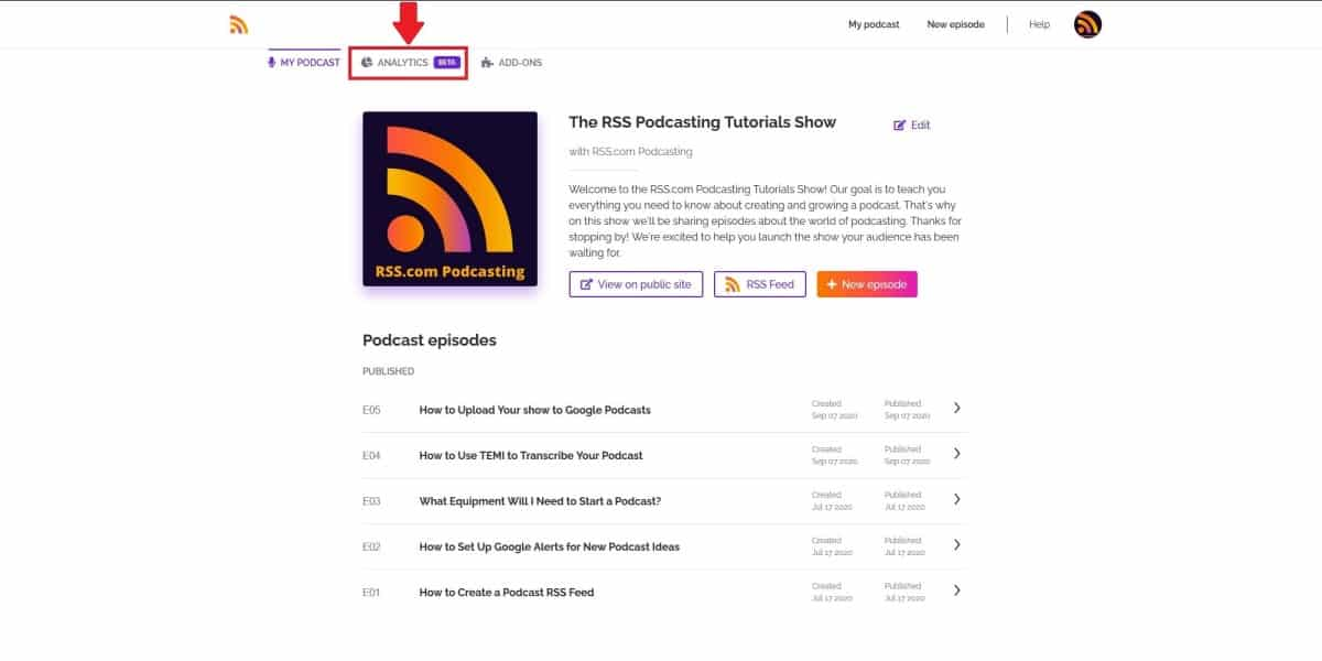 podcast analytics RSS.com Podcasting