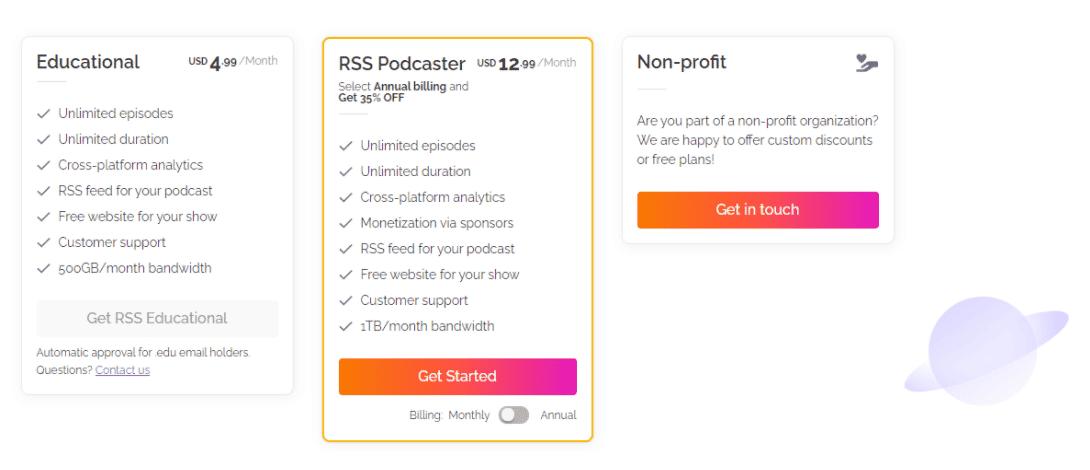 RSS.com podcast plans