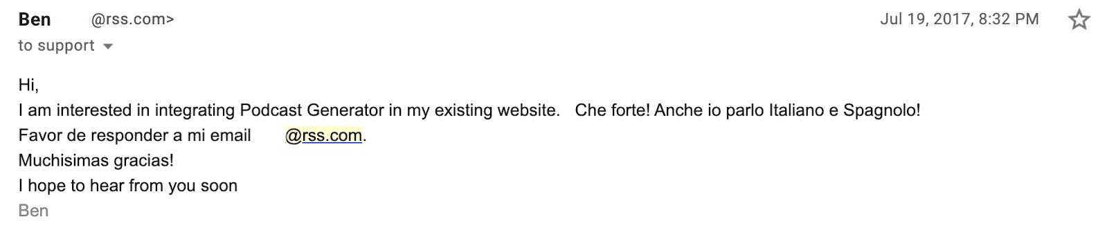 email from ben to alberto