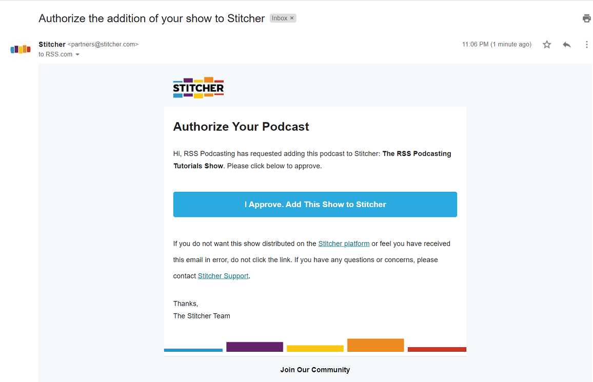 verification email from stitcher